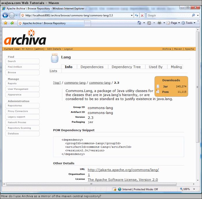 Apache's Archiva