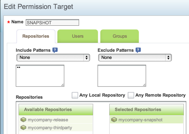 Artifactory - permissions - repositories